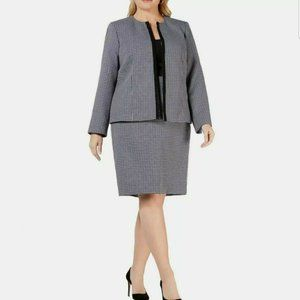 LE SUIT NEW Lined Plaid Tweed Skirt Suit Two-Piece